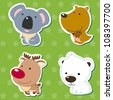 cute animal stickers with kangaroo, koala, elk, and polar bear. - stock vector