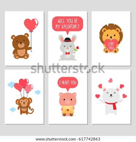 cute animal valentines day card collection stock vector 617742863, Ideas