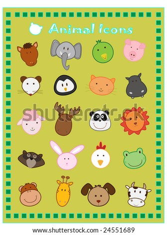 cute animal vector icons - stock vector