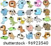 Cute Animal Wildlife Ocean Safari Vector Illustration Set - stock vector