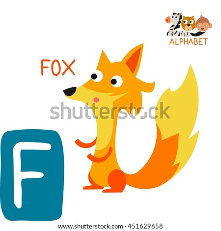Cute Animal Zoo Alphabet. Letter F for Fox. Fun teaching aids for Kids