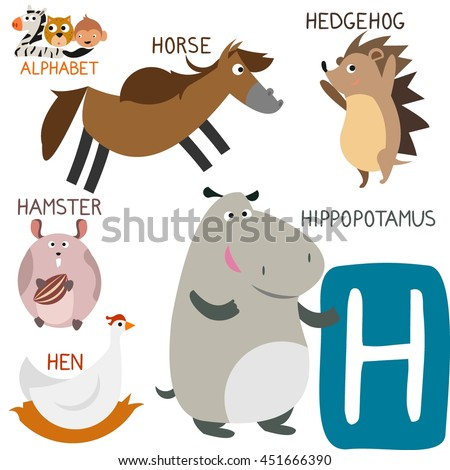 Cute animal zoo alphabet letter h stock vector 451666390 shutterstock letter h for hippopotamus horse hedgehog hamster and spiritdancerdesigns Gallery