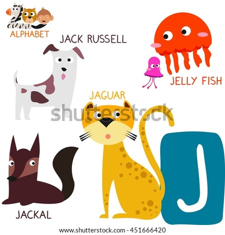 Cute Animal Zoo Alphabet. Letter J for Jaguar, Jellyfish, Jack Russell and Jackal. Fun teaching aids for Kids