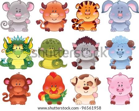 cute animals - stock vector