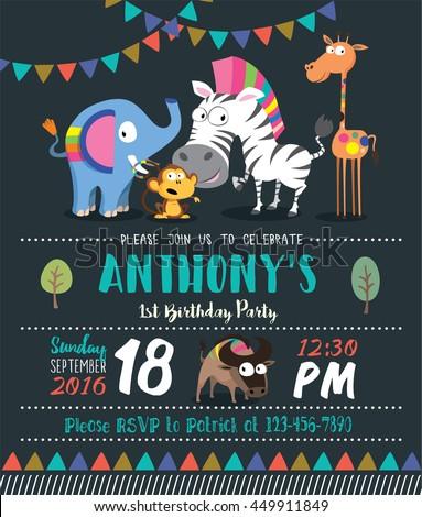 Cute animals birthday party invitation card stock vector 449911849 cute animals birthday party invitation card template stopboris Gallery
