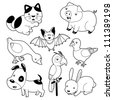 Cute animals black and white set - stock vector