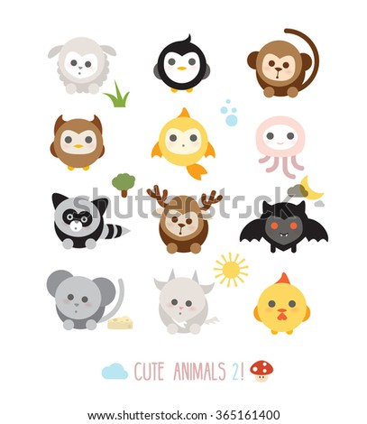 Cute animals, can be use separately - stock vector