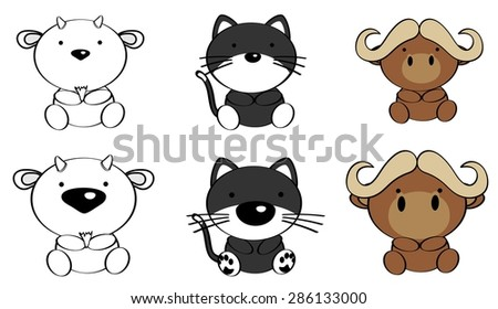 cute animals cartoon set in vector format very easy to edit
