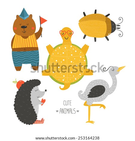 Cute animals collection, baby animals, animals vector. Bear, beetle, tortoise, hedgehog and heron isolated on white background. Cartoon animals set - stock vector