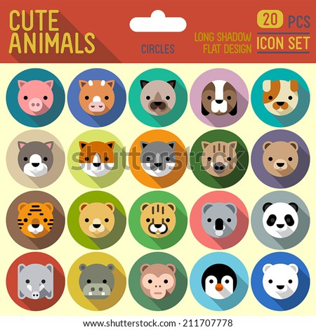 Cute animals flat long shadow circle icon set. Vector trendy illustrations. - stock vector