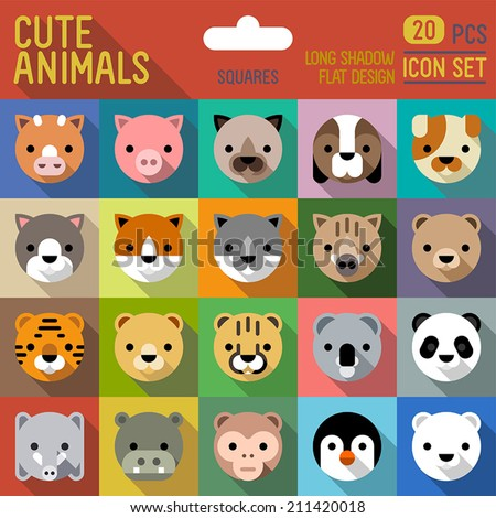 Cute animals flat long shadow square icon set. Vector trendy illustrations. - stock vector