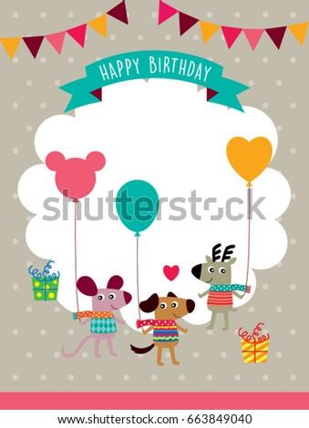 Cute Animals Happy Birthday Greeting Card Stock Vector 663849040