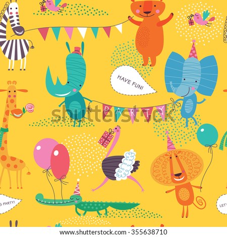 Cute animals have a party. Cartoon seamless pattern on a yellow background for childish design. Seamless pattern can be used for backgrounds, surface textures, wallpapers, pattern fills. - stock vector