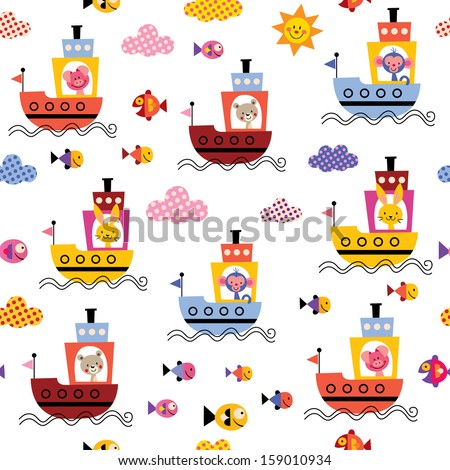 cute animals in boats kids sea pattern - stock vector