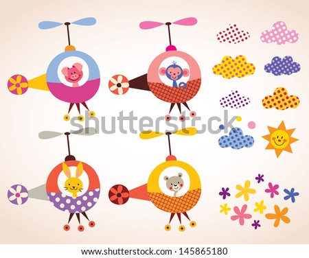 cute animals in helicopters kids design elements set - stock vector