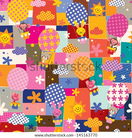cute animals in hot air balloons pattern - stock vector