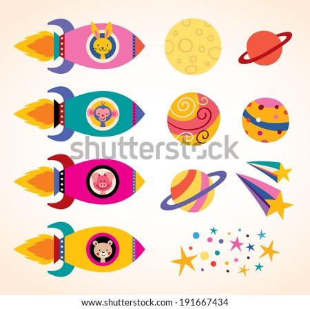 cute animals in spaceships kids design elements set - stock vector