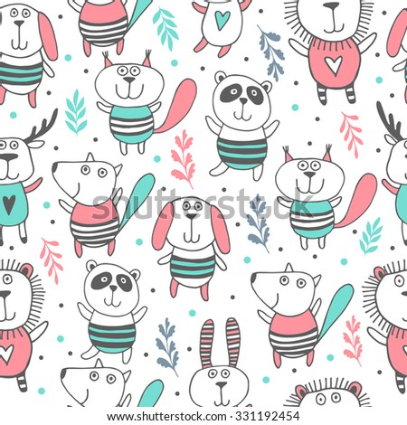 Cute animals seamless pattern.Kids background.Zoo - stock vector