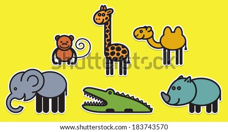 Cute animals set from famous African animals - stock vector