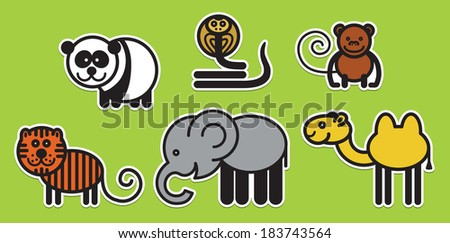 Cute animals set from typical Asian animals - stock vector