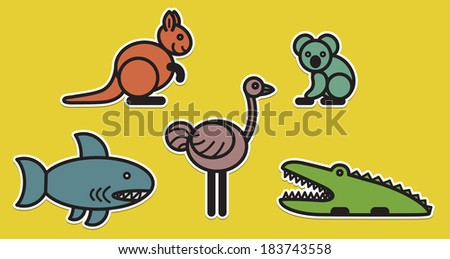 Cute animals set from typical Australian animals - stock vector