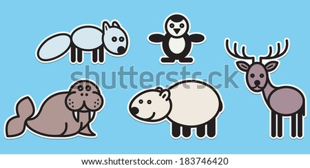 Cute animals set from typical Polar animals - stock vector