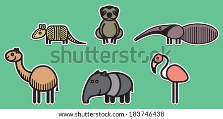 Cute animals set from typical South American animals - stock vector