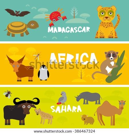 Cute animals set, leopard turtle crab penguin lemur bull hippo hyena parrot tsetse fly crab camel kids background African animals, Africa, Madagascar, Sahara Desert bright colorful banner. Vector - stock vector