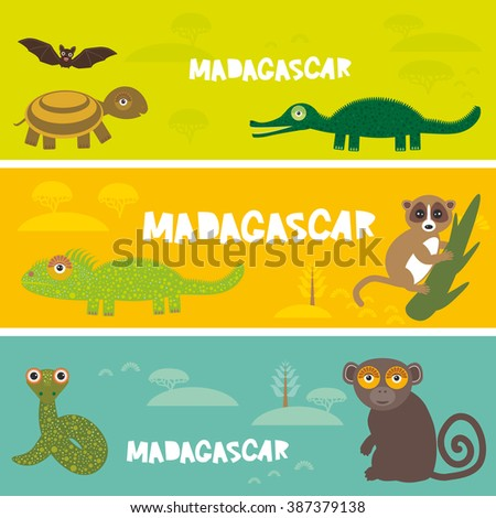 Cute animals set Turtle bat crocodile chameleon snake lemur, kids background African animals, Africa Madagascar bright colorful banner. Vector - stock vector