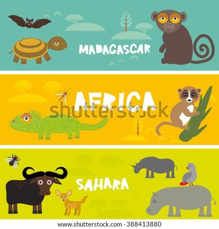 Cute animals set Turtle bat monkey lemur bull hippo parrot tsetse fly camel Chameleon Fennec fox, kids background African animals, Africa, Madagascar, Sahara Desert bright colorful banner. Vector - stock vector