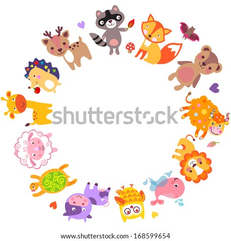 Cute animals walking around globe, Save animals emblem, animal planet, animals world. - stock vector