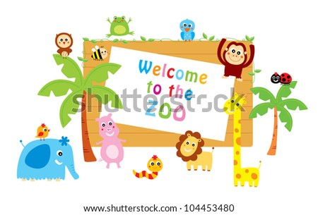cute animals welcome to zoo - stock vector