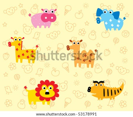 cute animals wrapper - stock vector