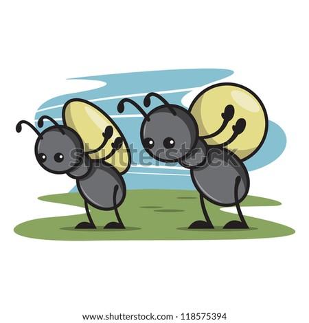Cute Ant Cartoon 2 - stock vector