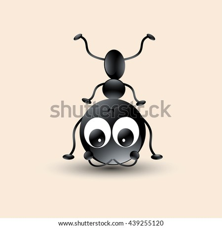 Cute Ant cartoon head down