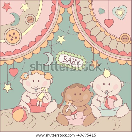 cute arrival card with girls and boy - stock vector