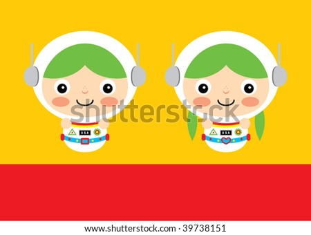 cute astronaut mascot - stock vector