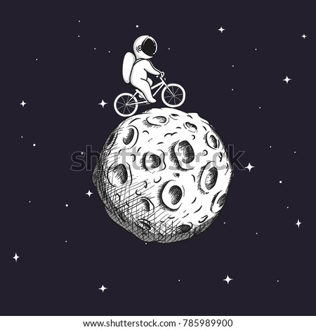 Cute astronaut rides on bicycle at the Moon.Prints design.Childish vector illustration