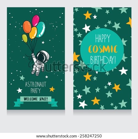 cute astronaut with balloons on starry background, funny invitation cards for boy's birthday party, cosmic vector illustration - stock vector