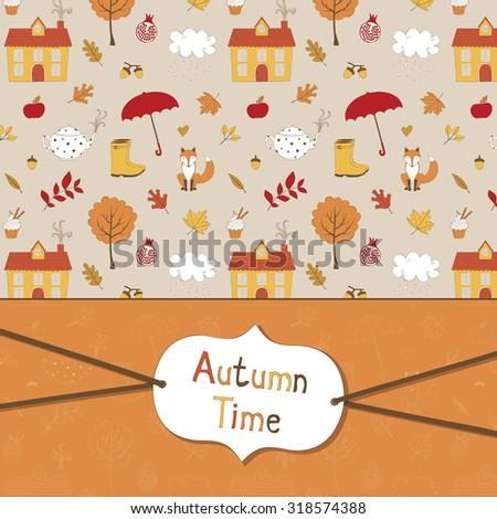 Cute autumn card - stock vector