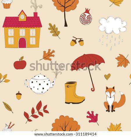 Cute autumn seamless background - stock vector