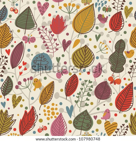 Cute autumn seamless pattern with butterflies and birds - stock vector