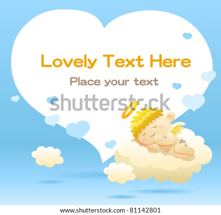 Cute baby angel lying on a cloud - stock vector