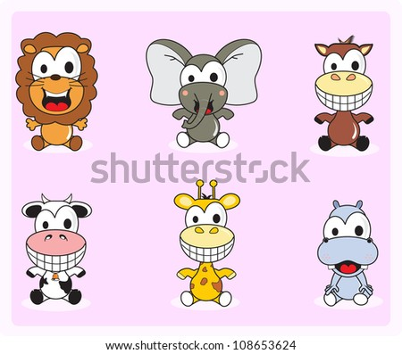 cute baby animals are isolated on pink background - stock vector