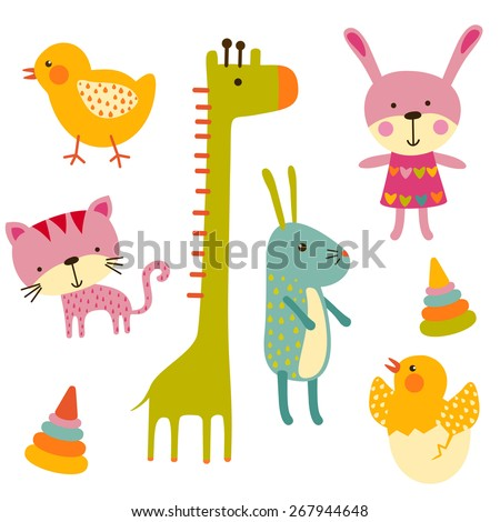Cute baby animals colorful vector set - stock vector