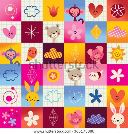 cute baby animals kids pattern - stock vector