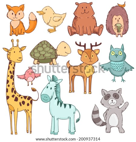 Cute baby animals set collection. Vector illustration isolated on white - stock vector