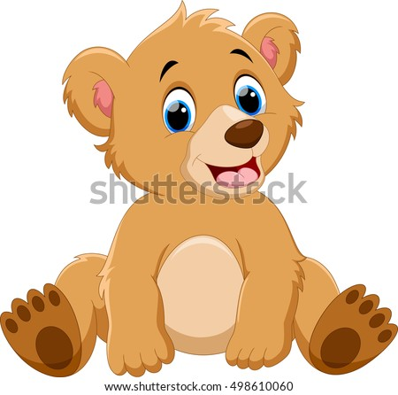 Cute Baby Bear Cartoon Stock Vector 498610060 - Shutterstock