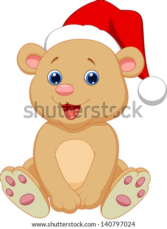 Cute baby bear wearing red hat - stock vector