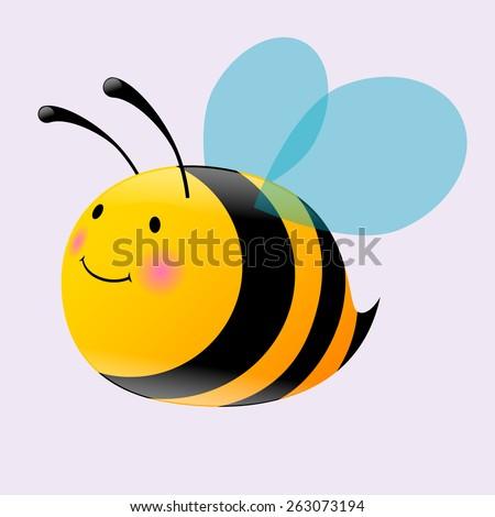 cute baby bee - stock vector